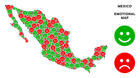 Happiness and sorrow Mexico map collage of smileys in green and red colors. Positive and negative mood vector template. Mexico map is formed of red sorrow and green happy icons.