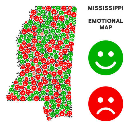 Emotional Mississippi State map collage of smileys in green and red colors. Positive and negative mood vector concept. Mississippi State map is formed of red sorrow and green positive icons.