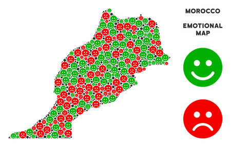 Happiness and sorrow Morocco map mosaic of smileys in green and red colors. Positive and negative mood vector template. Morocco map is organized from red pity and green positive emotion symbols. Ilustração