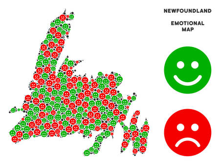 Happiness and sorrow Newfoundland Island map composition of smileys in green and red colors. Positive and negative mood vector concept. Illustration