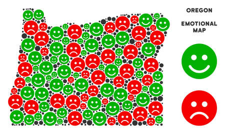 Happiness and sorrow Oregon State map composition of emojis in green and red colors. Positive and negative mood vector concept. 矢量图像