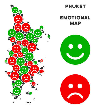 Emotional Phuket map mosaic of smileys in green and red colors. Positive and negative mood vector concept. Phuket map is done with red upset and green positive icons. Abstract area plan.