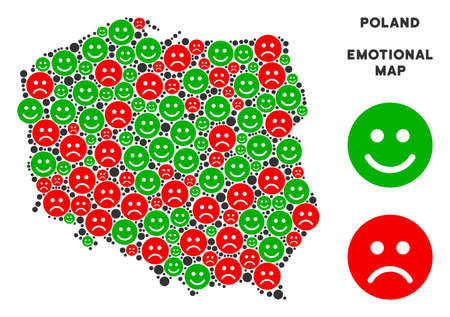 Emotion Poland map composition of emojis in green and red colors. Positive and negative mood vector template. Poland map is formed of red sorrow and green joy emotion symbols. Abstract territory plan.