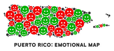 Happiness and sorrow Puerto Rico map composition of emojis in green and red colors. Positive and negative mood vector concept. Puerto Rico map is formed of red pity and green positive icons.