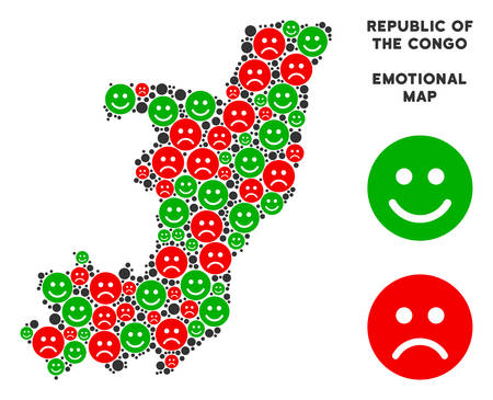 Happiness and sorrow Republic of the Congo map collage of emojis in green and red colors. Positive and negative mood vector template. Illustration