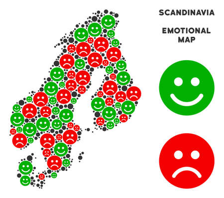 Happiness and sorrow Scandinavia map collage of smileys in green and red colors. Positive and negative mood vector template. Scandinavia map is created from red sorrow and green happy emotion symbols.