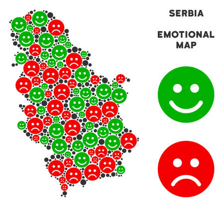 Emotion Serbia map composition of smileys in green and red colors. Positive and negative mood vector template. Serbia map is formed of red sad and green happy emotion symbols. Illustration