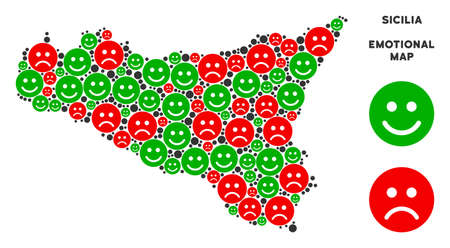 Happiness and sorrow Sicilia map mosaic of smileys in green and red colors. Positive and negative mood vector template. Sicilia map is designed with red pity and green positive icons. Ilustração