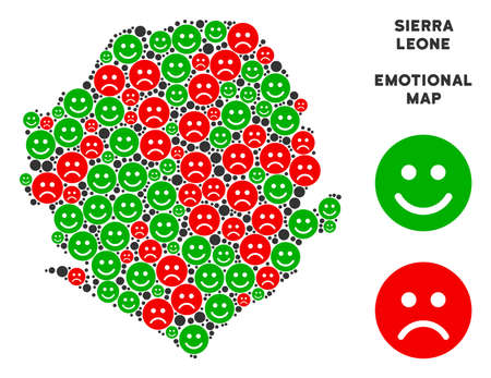 Happiness and sorrow Sierra Leone map composition of smileys in green and red colors. Positive and negative mood vector concept. Sierra Leone map is formed of red sorrow and green glad icons.