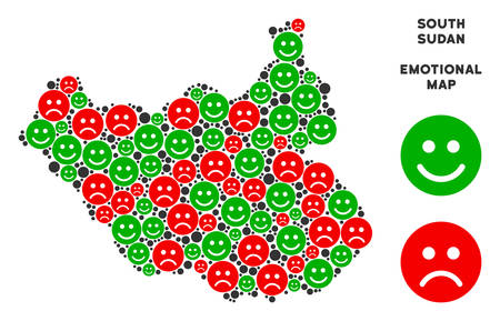 Emotion South Sudan map mosaic of emojis in green and red colors. Positive and negative mood vector concept. South Sudan map is composed from red pity and green positive emotion symbols.