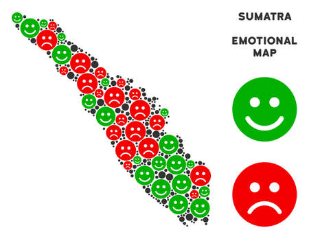 Happiness and sorrow Sumatra Island map collage of smileys in green and red colors. Positive and negative mood vector concept. Sumatra Island map is organized from red dolor and green positive icons.