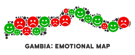 Happiness and sorrow the Gambia map composition of smileys in green and red colors. Positive and negative mood vector template. The Gambia map is shaped with red sad and green positive icons.