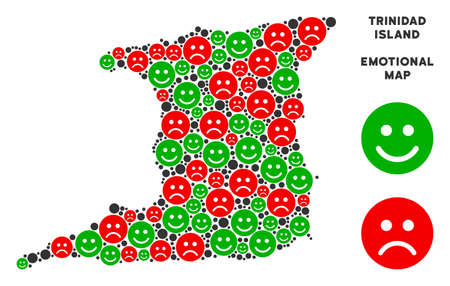 Emotional Trinidad Island map mosaic of smileys in green and red colors. Positive and negative mood vector template. Trinidad Island map is designed with red sorrow and green positive emotion symbols.