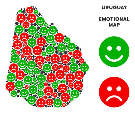 Happiness and sorrow Uruguay map mosaic of smileys in green and red colors. Positive and negative mood vector concept. Uruguay map is constructed from red sorrow and green positive emotion symbols.