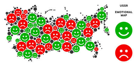 Emotion USSR map collage of smileys in green and red colors. Positive and negative mood vector concept. USSR map is made from red sad and green positive emotion symbols. Abstract territorial plan.