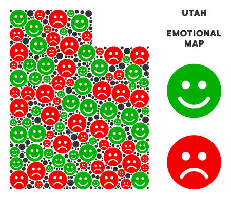 Happiness and sorrow Utah State map composition of emojis in green and red colors. Positive and negative mood vector template. Utah State map is formed of red dolor and green joy emotion symbols.