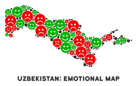 Happiness and sorrow Uzbekistan map mosaic of smileys in green and red colors. Positive and negative mood vector concept. Uzbekistan map is done with red upset and green positive icons.