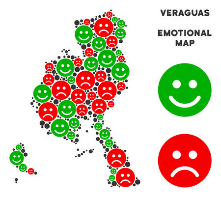Emotion Veraguas Province map mosaic of smileys in green and red colors. Positive and negative mood vector template. Veraguas Province map is created from red sad and green happy emotion symbols.