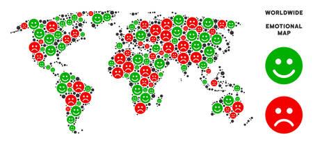 Emotion Weltkarte Collage von Smileys in grünen und roten Farben. Positive und negative Stimmungsvektorschablone. Die Weltkarte besteht aus roten, traurigen und grünen Symbolen für positive Emotionen. Abstraktes Flächenschema.