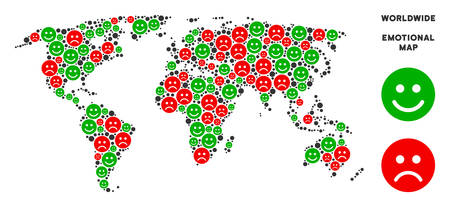 Emotion world map collage of smileys in green and red colors. Positive and negative mood vector template. World map is formed of red sad and green positive emotion symbols. Abstract area scheme.