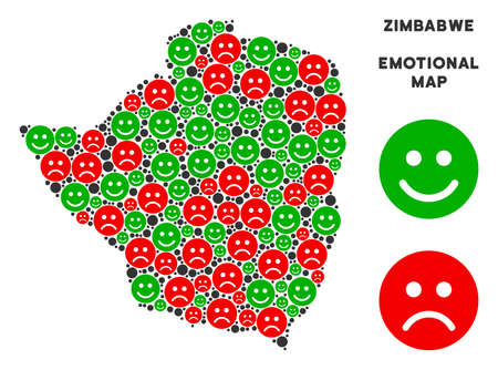 Emotional Zimbabwe map composition of emojis in green and red colors. Positive and negative mood vector concept. Zimbabwe map is formed of red unhappy and green positive icons.