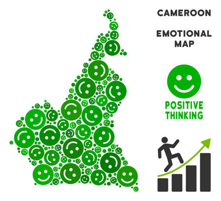 Happy African Cameroon map mosaic of smile emojis in green tinges. Positive thinking vector template. African Cameroon map is composed from green happy emotion symbols. Abstract area scheme. Ilustração