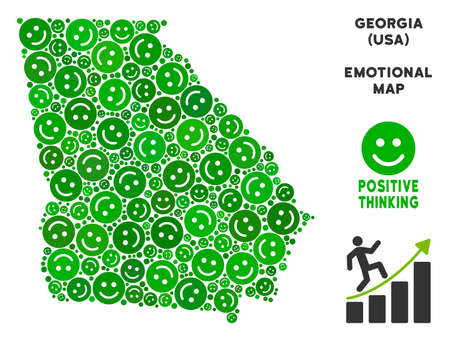Happiness American State Georgia map composition of smileys in green tones. Positive thinking vector concept. American State Georgia map is formed of green positive emotion symbols.