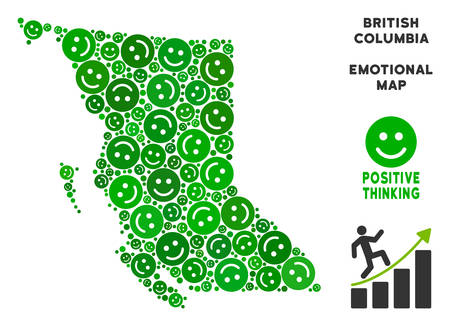 Joy British Columbia Province map composition of smileys in green hues. Positive thinking vector template. British Columbia Province map is created from green joy emotion symbols.
