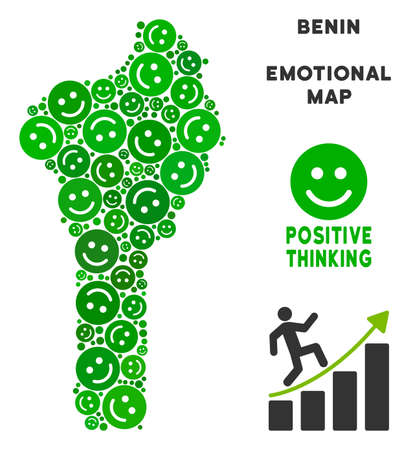 Happiness Benin map collage of smile emojis in green tints. Positive thinking vector concept. Benin map is formed of green glad emotion symbols. Abstract territorial plan.