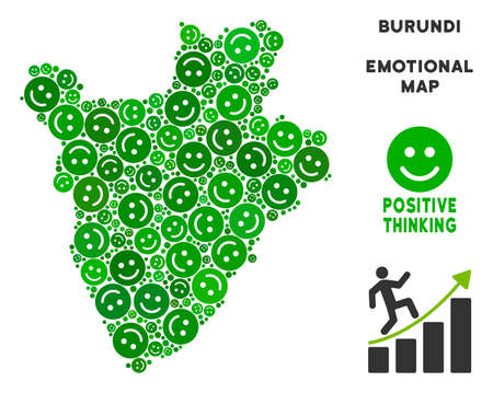 Happy Burundi map composition of smileys in green hues. Positive thinking vector template. Burundi map is done with green positive emotion symbols. Abstract area plan. Illustration