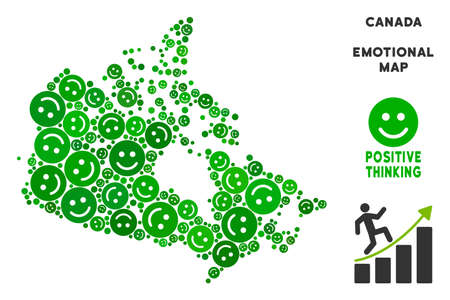 Happiness Canada map mosaic of smile emojis in green tones. Positive thinking vector concept. Canada map is created from green positive emotion symbols. Abstract geographic plan.