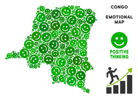 Happy Democratic Republic of the Congo map composition of smile emojis in green hues. Positive thinking vector concept. Illustration