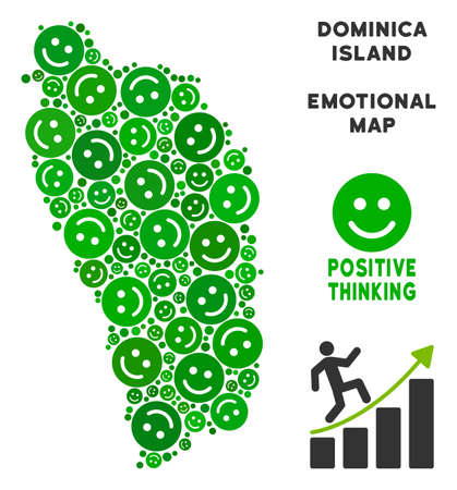 Happiness Dominica Island map mosaic of smileys in green tones. Positive thinking vector template. Dominica Island map is formed of green lucky icons. Abstract territory plan.