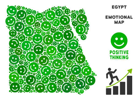 Happiness Egypt map collage of smile emojis in green tinges...