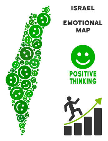 Joy Israel map mosaic of smile emojis in green tinges. Positive thinking vector concept. Israel map is composed from green positive icons. Abstract area plan.