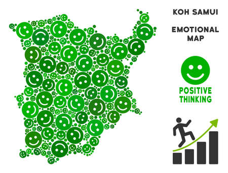 Happy Koh Samui map mosaic of smile emojis in green variations. Positive thinking vector template. Koh Samui map is formed of green positive emotion symbols. Abstract territory scheme.