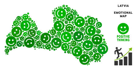 Happy Latvia map collage of smileys in green shades. Positive thinking vector template. Latvia map is made from green happy emotion symbols. Abstract territory plan.
