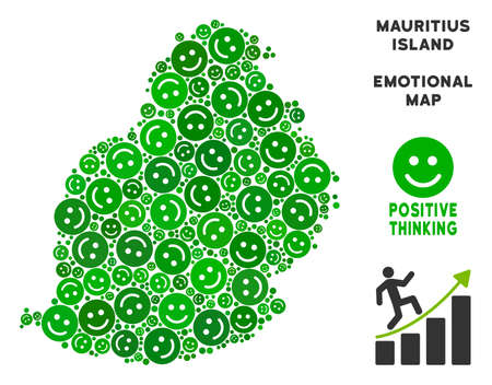 Joy Mauritius Island map collage of smile emojis in green tinges. Positive thinking vector concept. Mauritius Island map is created from green joy emotion symbols. Abstract geographic scheme.