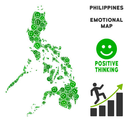 Happy Philippines map composition of smileys in green tones. Positive thinking vector concept. Philippines map is formed of green happy icons. Abstract geographic plan. Vectores