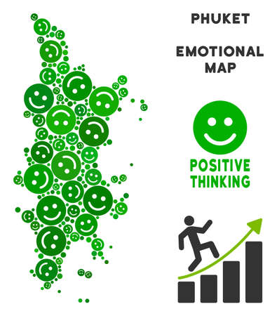 Happy Phuket map collage of smileys in green tinges. Positive thinking vector template. Phuket map is formed of green glad icons. Abstract territory plan.