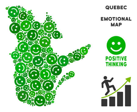 Happy Quebec Province map mosaic of smile emojis in green shades. Positive thinking vector concept. Quebec Province map is shaped with green positive emotion symbols. Abstract geographic scheme.