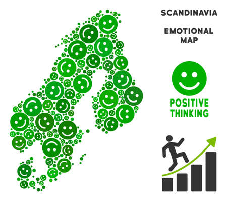 Happiness Scandinavia map collage of smileys in green shades. Positive thinking vector concept. Scandinavia map is formed of green cheerful icons. Abstract territory scheme.