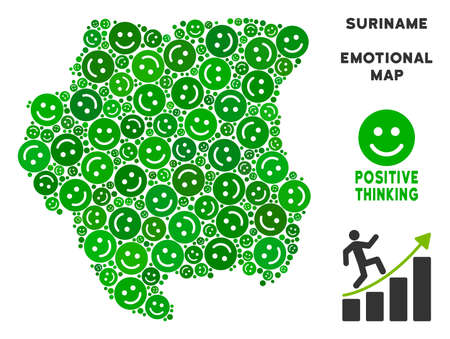Happiness Suriname map mosaic of smileys in green tones. Positive thinking vector template. Suriname map is designed with green positive icons. Abstract geographic scheme.