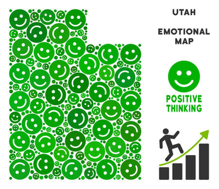 Joy Utah State map mosaic of smileys in green shades. Positive thinking vector template. Utah State map is composed from green joy icons. Abstract territory plan. 向量圖像