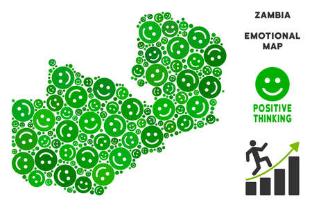 Joy Zambia map mosaic of smileys in green tinges. Positive thinking vector template. Zambia map is created from green joy icons. Abstract area scheme. Illustration