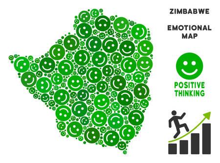 Happiness Zimbabwe Map Mosaic Of Smile Emojis In Green ...