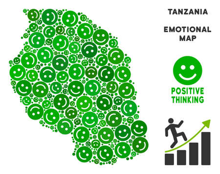 Joy Tanzania map mosaic of smileys in green tints. Positive thinking vector concept. Tanzania map is shaped with green joy emotion symbols. Abstract geographic plan.