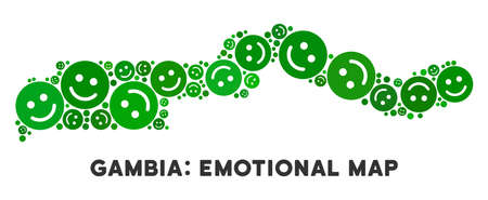 Joy the Gambia map collage of smile emojis in green tinges. Positive thinking vector template. The Gambia map is formed of green cheerful icons. Abstract geographic plan.