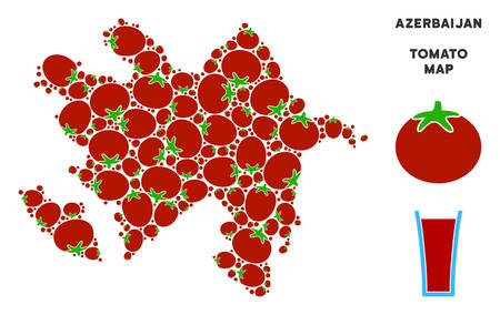 Azerbaijan map mosaic of tomatoes in various sizes. Vector tomatoes elements are united into Azerbaijan map mosaic. Tomatoes vector design concept with juice glass.