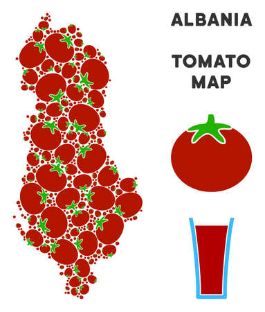 Albania map composition of tomato in different sizes. Vector tomato items are organized into Albania map illustration. Organic vector illustration with juice glass.